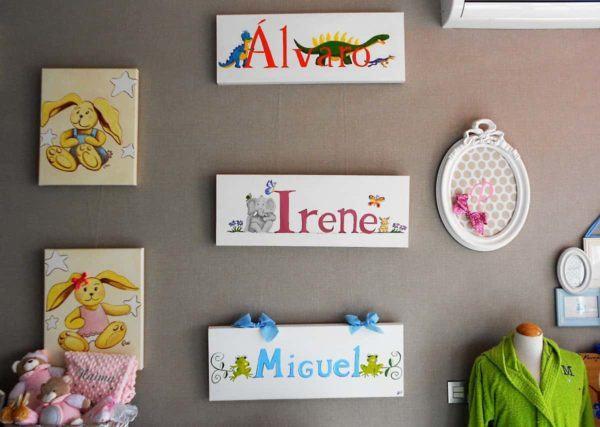 Cuadros infantiles con nombre de bebé personalizados hechos a mano de manera artesanal.