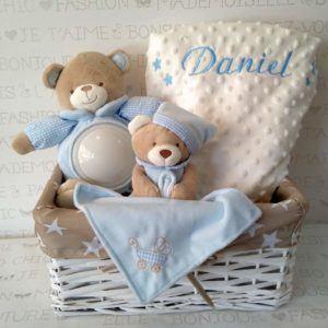 Canastilla bebé original Oso-luz, Dudu y Manta