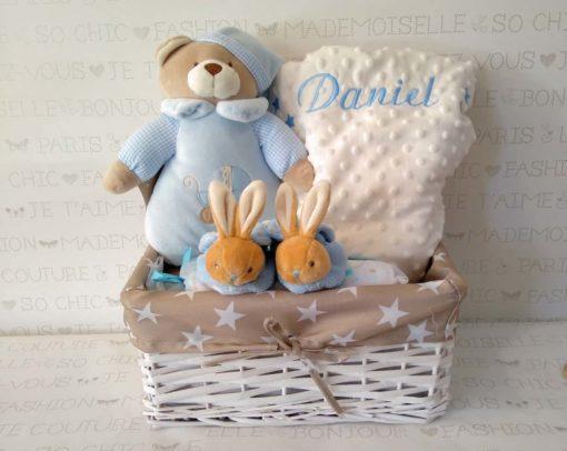 Canastilla bebé-zapatillas-manta-azul