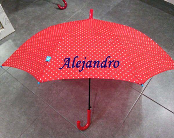 Paraguas personalizado bordado a máquina en color rojo con letras azules