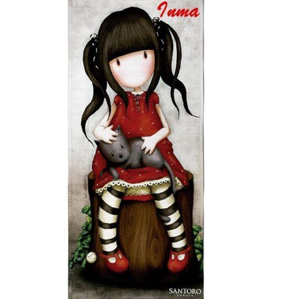 Toalla-Infantil-Gorjuss roja personalizada con nombre