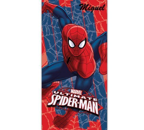 Toalla de playa infantil de spiderman personalizada