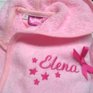 Albornoz para bebés Nombre y estrellas en el pecho