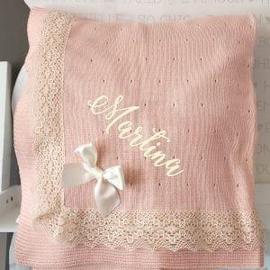 Toquilla Manta de punto en rosa mandarina
