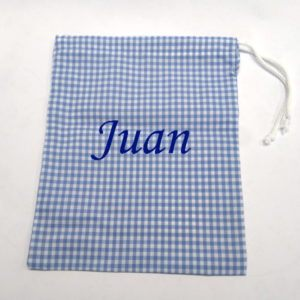 Mochila saco con cuerda de cuadros azules
