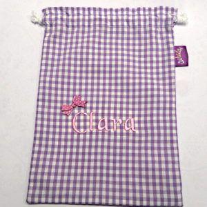 Mochila saco con cuerda de cuadros lila