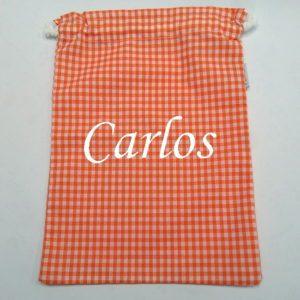 Mochila saco con cuerda de cuadros naranja