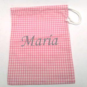 Mochila saco con cuerda de cuadros rosas