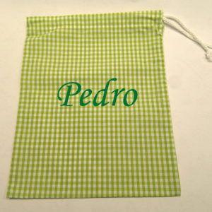 Mochila saco con cuerda de cuadros verdes