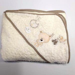 Capa de baño Oso tendido Crema 100×100 cm