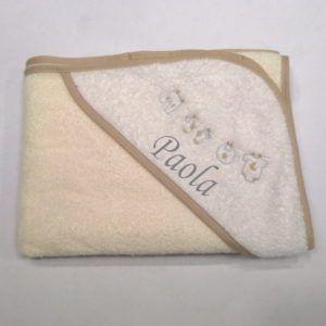 Capa de baño Crema y Blanco 100×100