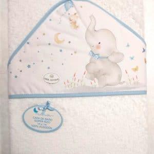 Capa de baño Elefante azul 100×100