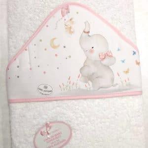 Capa de baño Elefante rosa 100×100