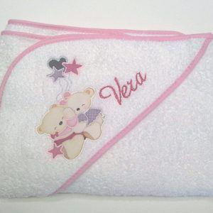 Capa de baño Abrazo Osos rosa 100×100