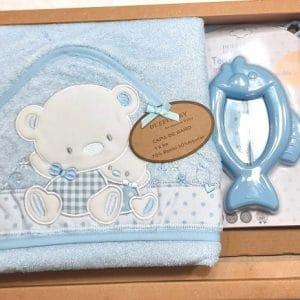 Capa de baño Osito azul bambú100×100