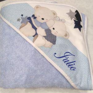 Capa de baño Abrazo Osos  Azul100x100
