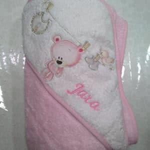 Capa de baño oso tendido rosa 100×100