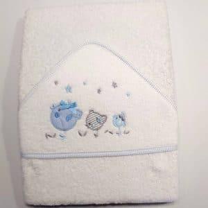 Capa de baño pollitos azules 100×100
