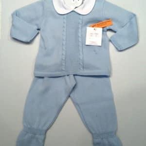 Trajecito de punto para bebés azul algodón 3 meses