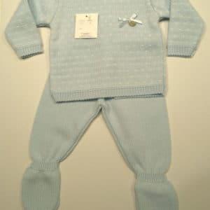Trajecito de punto para bebés azul  3 meses