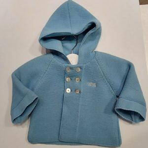 Trenca de punto para bebés Azul Sombra Capucha 3 meses