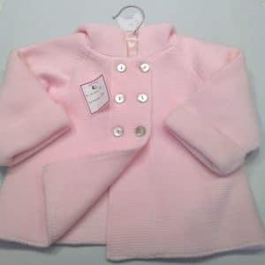 Abrigo de punto para bebés Rosa Capucha 8 Meses
