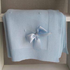 Toquilla Manta de punto sin puntilla -Azul claro