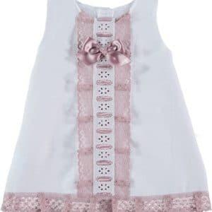 Trajecito vestido  blanco con puntilla en rosa maquillaje 1 mes